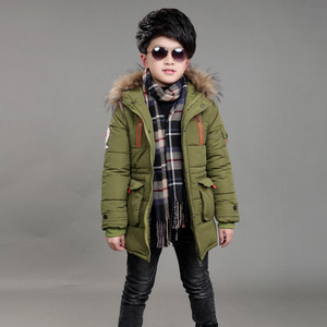 Image 3 - Childrens Double Zipper Jackets Boys Thickening Fur Collar Hooded Cotton Jacket Children Winter Outerwear Coats
