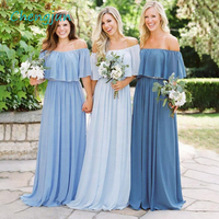 Chengjun Boat Neck Chiffon Blue Bridemaids Dresses for Wedding