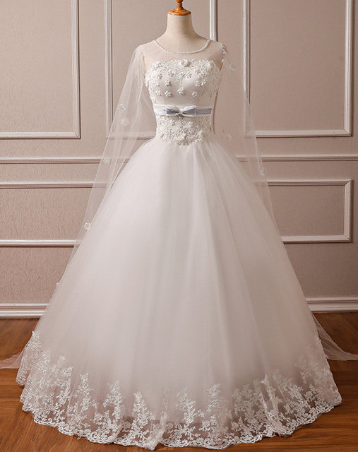Real Photo New Lace Wedding Dress Appliques Flowers with veil 2 in 1  Vintage Plus Sizes 6f10043d3e00