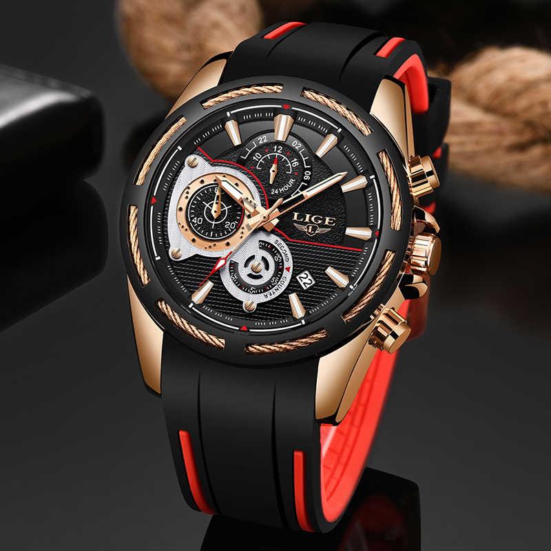 2019New LIGE Silicone Strap Homens Moda Relógios Top Marca de luxo Negócio Luminosa Relógio de Quartzo Data Relógio Dos Homens Casuais À Prova D' Água