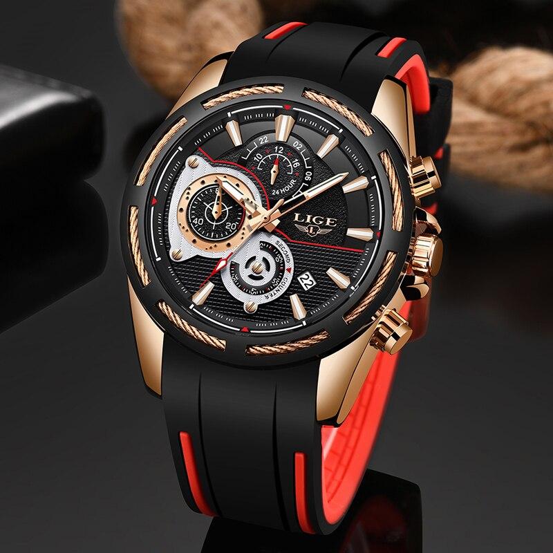 2019New LIGE Silicone bracelet hommes montres haut tendance marque de luxe affaires lumineux Quartz montre hommes décontracté étanche Date horloge