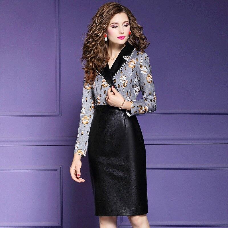 Robe 2019 Copie Qualité Hiver Pu La Patchwork Taille Parti Plus Crayon Noir Femmes Bureau Dame Nouvelle Robes Perles Supérieure Vintage wilPkXTOZu