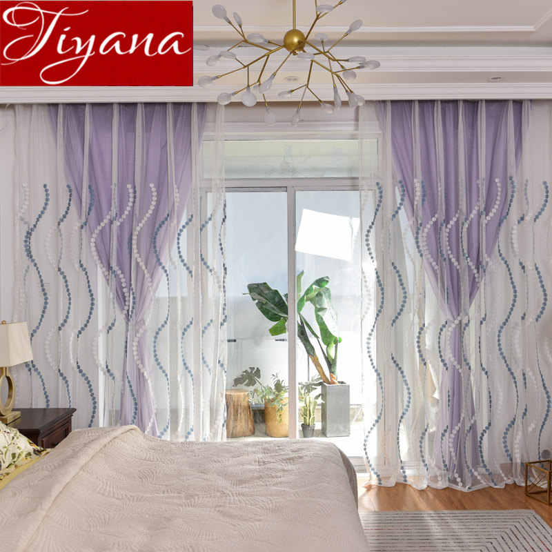 Geometric Endless Modern Window Bedroom Vertical Wave Sheer Curtain for Living Room Kitchen Tulle Blinds Treatments WP023 #30