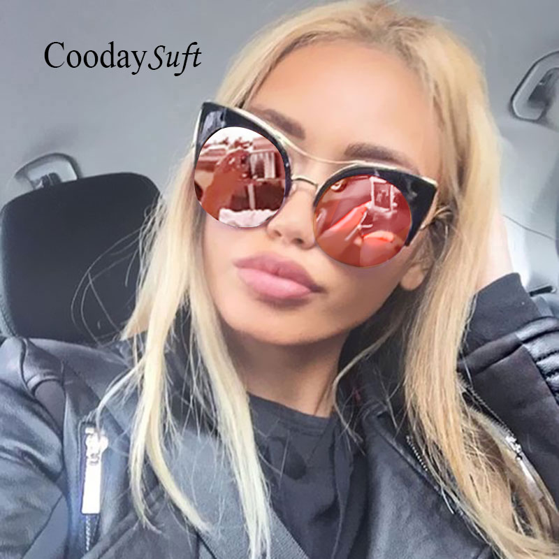 Women Cat Eye Sunglasses Oversized Half Rims Fashion Brand Designer Mirror UV400 Pink Eyewear Lady Sun