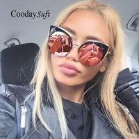 Women Cat Eye Sunglasses Oversized Half Rims Fashion Brand Designer Mirror UV400 Pink Eyewear Lady Sun