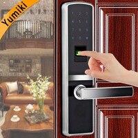 Intelligent fingerprint door lock biometric with good quality Silver Color for home metal&wooden door