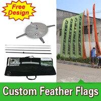 Diseño libre de Envío Libre de Doble Cara Cruz Base Competitivo Muestra Signos De Viento Banderas Banderas Banderas Banderas de Plumas Polo