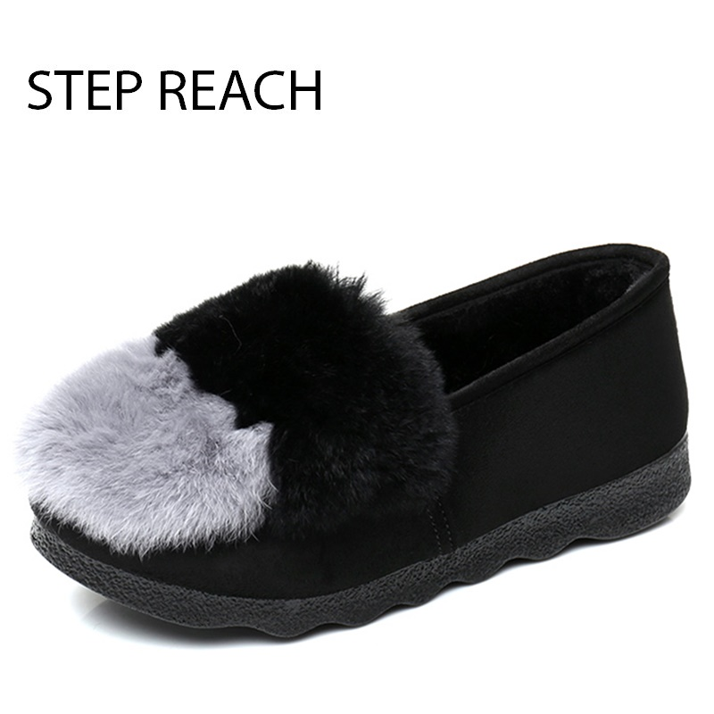 STEPREACH Brand shoes woman Boots snow flat Casual Round Toe Plush comfortable slip-on ankle boots for women Ladies botas mujer 1984 ƞ