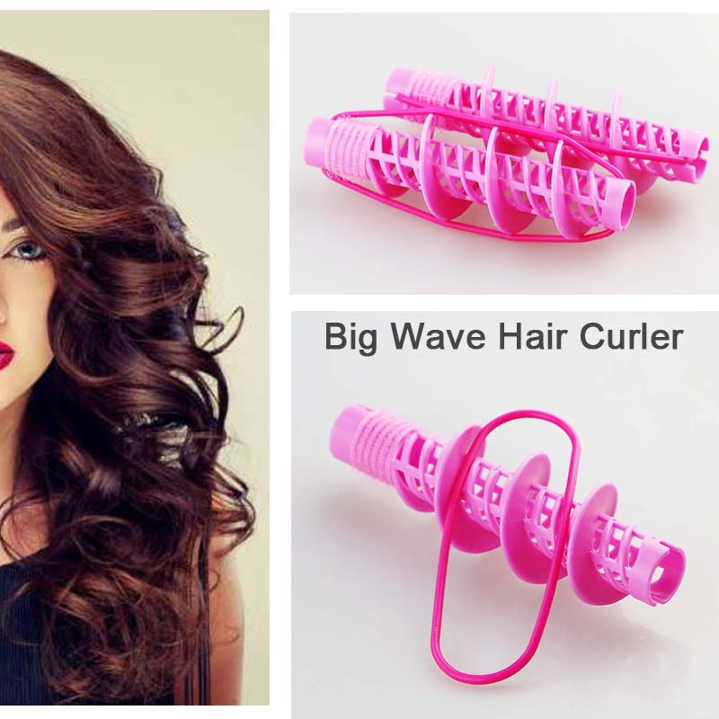 4pcs ABS Plastic Long Hair Big Wave Hair Waver Home Use DIY Styling Tool 13*5cm ...