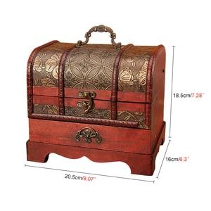Image 4 - Large Vintage Metal Lock Trinket Jewelry Storage Box Organizer Handmade Decorative Wooden Treasure Case Chest Gift
