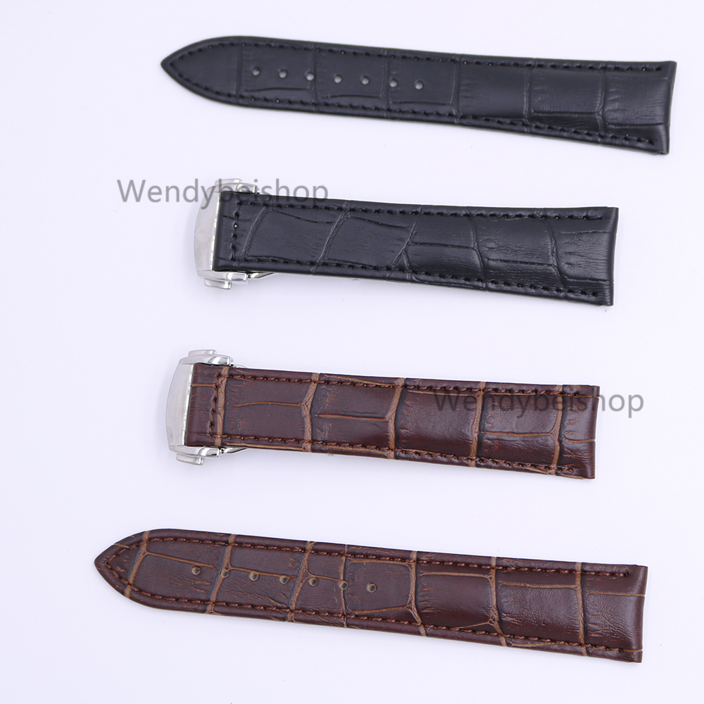 18 20 22mm Genuine Calf Cowhide Leather Black Brown Crocodile Grain Vintage Wrist Watch Band Strap with Silver Clasp