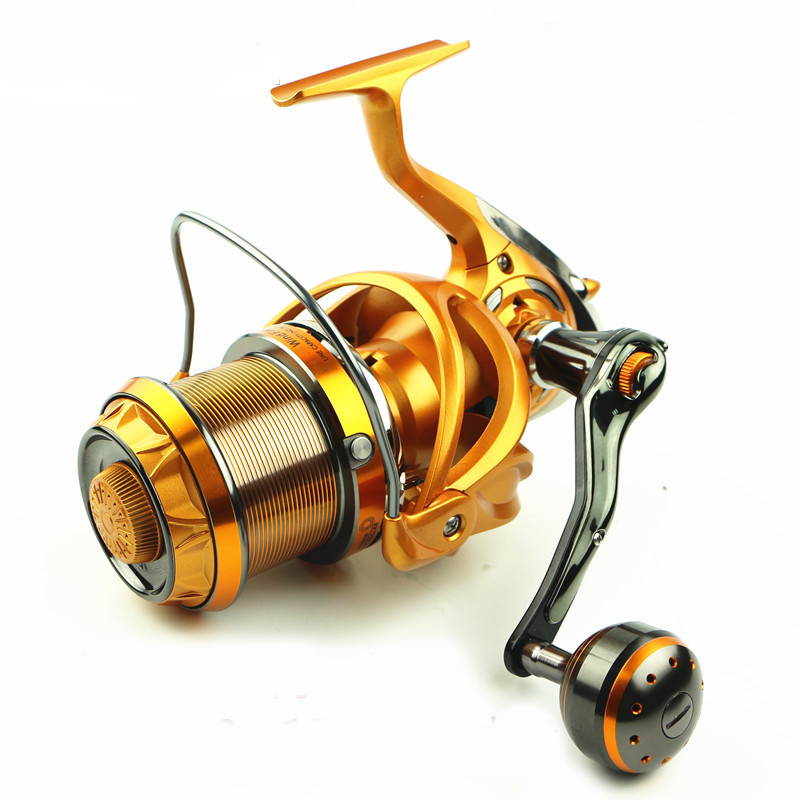 AZJ 2017 Top Surfcasting Fishing Reel Feeder far Carp Cast Sea Spool Peche Wheel Spinning Drag Handle carbon