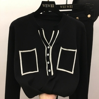 Fall 2018 new han edition V collar button open wire pairs long sleeve pocket joker knits pullovers female