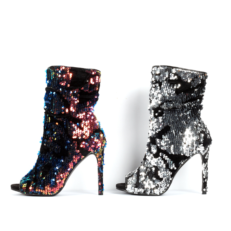 Souper Chaussons as Bling Argent Bottes Show As Dames Chaussures Toe Haute Chaude Cheville Peep Sexy Multi Show Talons Pour Femmes 5pnqY4X4U