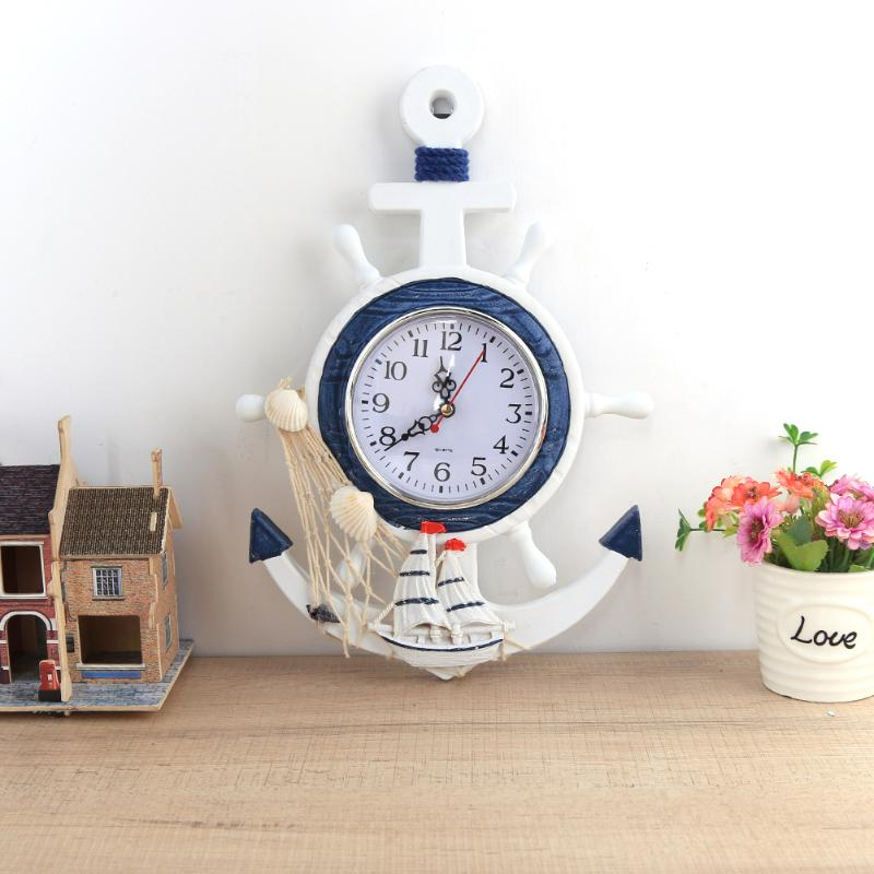 Mediterranean Style Wall Clock Wood font b Electronic b font Wall Clock for Kitchen Bathroom Hanging
