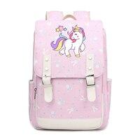 Cartoon unicorn colorful school bags for Students cute backpacks Children for Teenager Girls canvas Teenangers Mochila FT