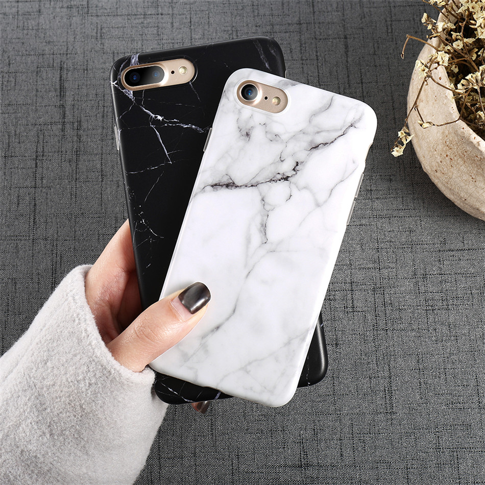Marble Style Pattern Soft TPU Phone Iphone X 8 7 6 6S Plus 5 5S SE Brushed Silicone Shockproof Shell Case