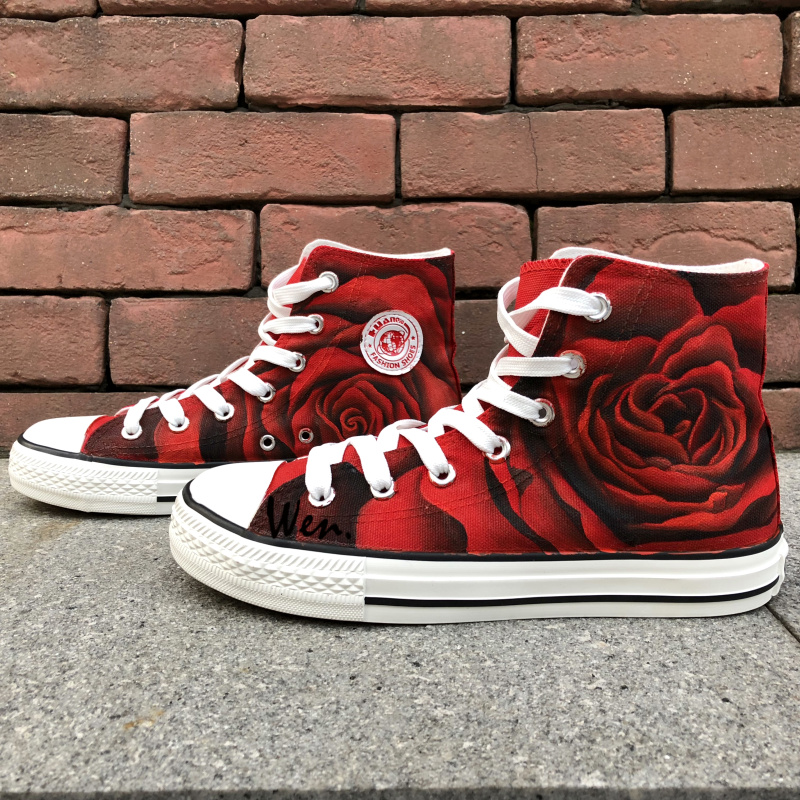 10716dad9e3796 Wen Original Design Custom Shoes Hand Painted Sneakers Rose All Red ...