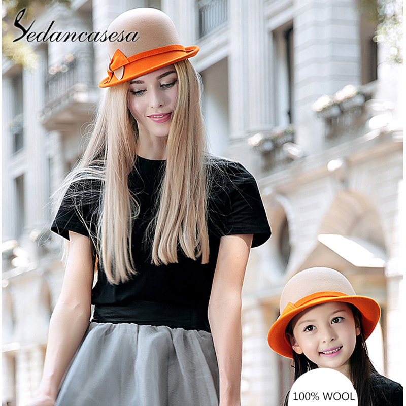 Sedancasesa England Autumn Winter Hat For Girls Fedora Hats Children Curl Wool Felt Bowknot Cloche Fedoras Child Bonnet Caps