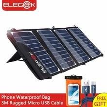 Elegeek 22 Вт 5 В Портативный Солнечный Панель Зарядное устройство двойной USB складной солнечный Панель с регулируемой подставкой и сумка для хранения для смартфонов