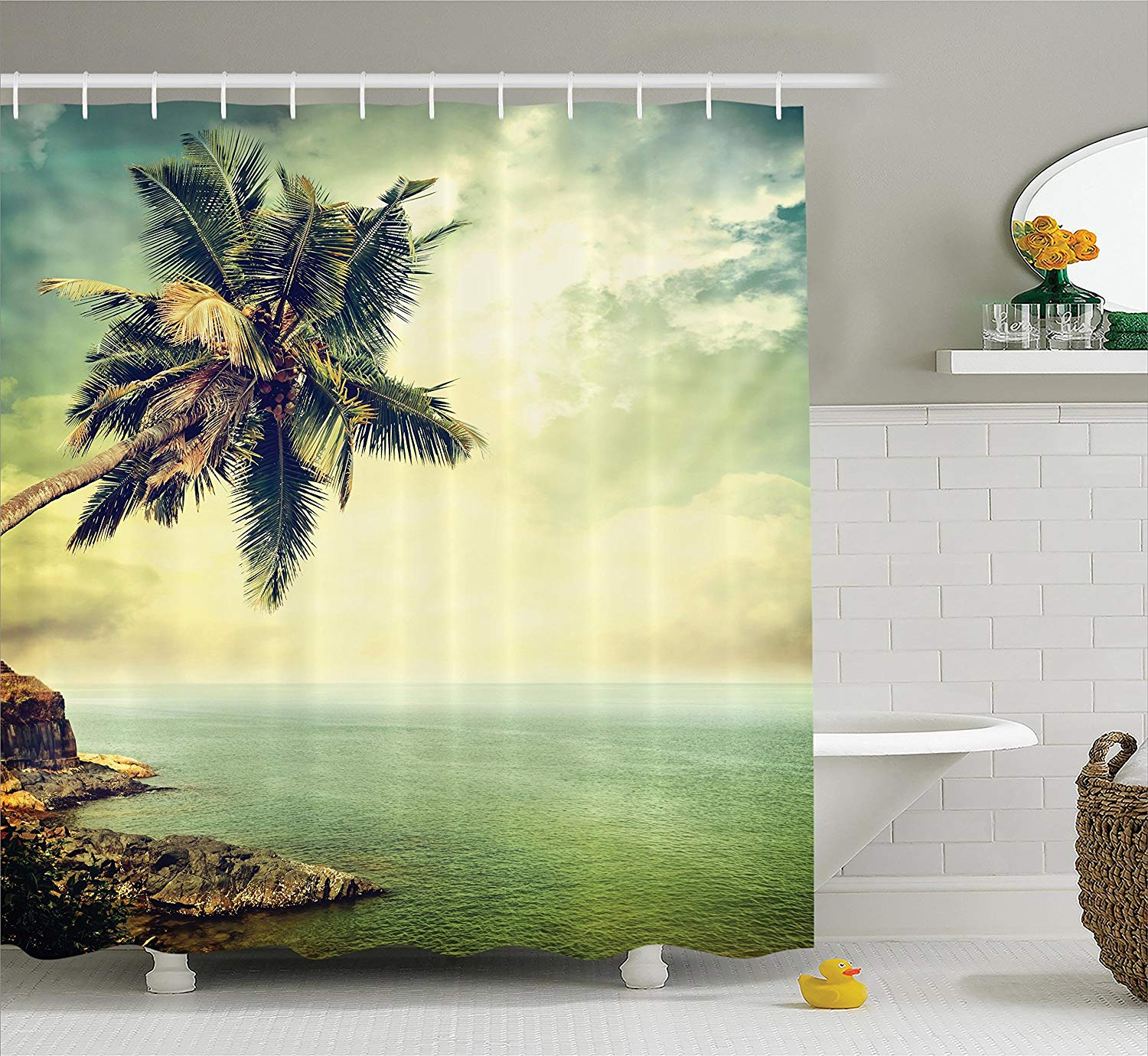Beach Hawaiian Decor, Palm Tree Rocky Shore Caribbean Mist Honeymoon Traveling Resort Scenic Sun Rays Image, shower curtain image