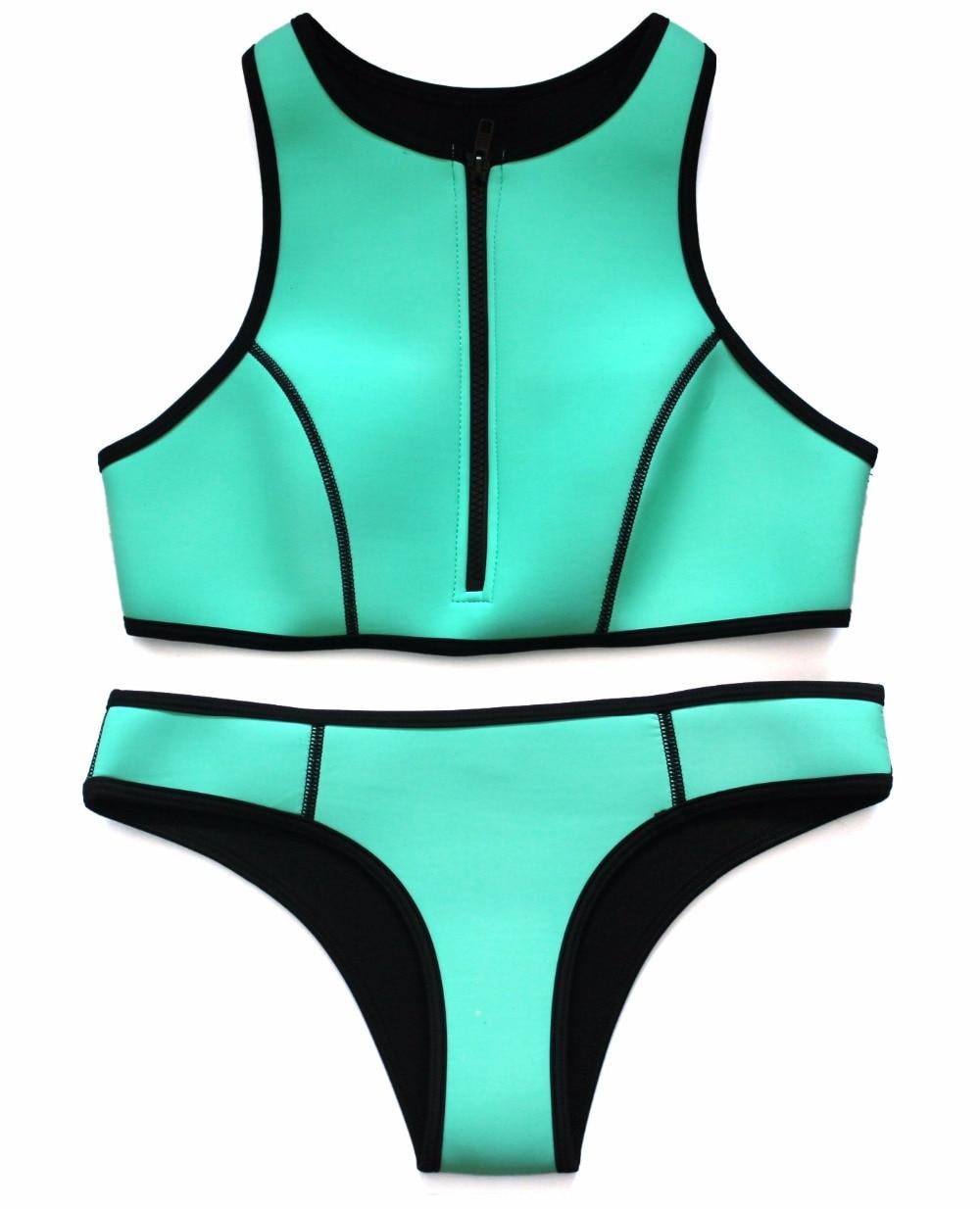 high quality green zipper sexy triangle neoprene bikini 2016 sports crop top swimwear women. Black Bedroom Furniture Sets. Home Design Ideas