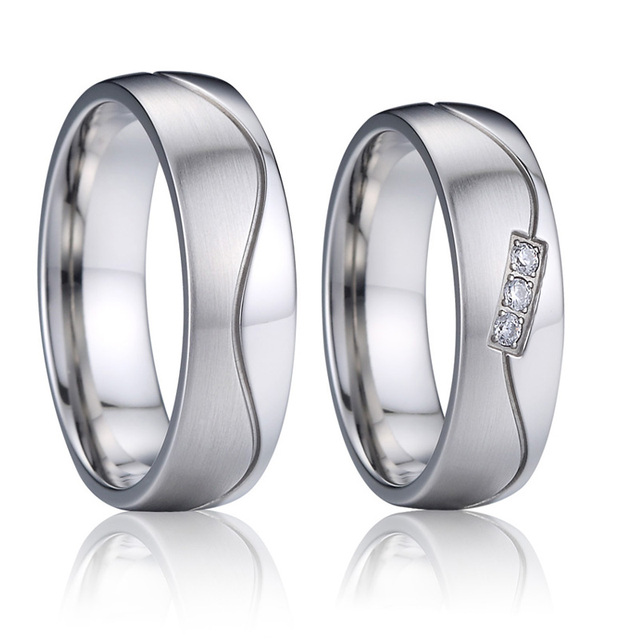 Anniversary couple ring men titanium stainless steel jewelry silver color wedding band engagement rings for women