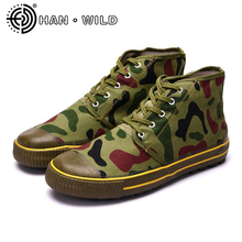 Army Shoes Camouflage Canvas Shoes Men Casual High Top Flats Men Flat Heel Quality Military Shoes Hard-Wearing Tactical Shoes