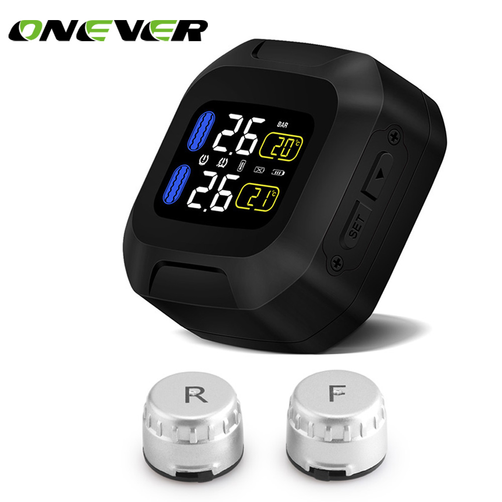 Onever Motorcycle TPMS Tire Pressure Monitoring System 2 External Sensor LCD Display Moto Auto Temperature Tyre Alarm Systems