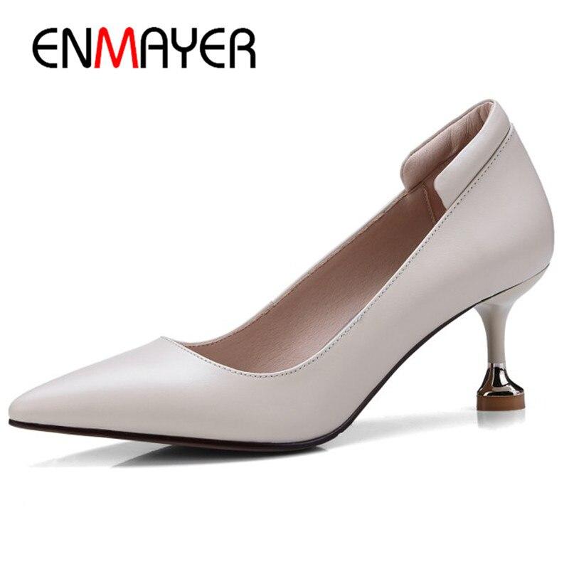 ENMAYER/остроносые туфли лодочки женские большие размеры 34 41 обувь из натуральной кожи ботинки на каблуках скольжения на обуви вечерние свадеб