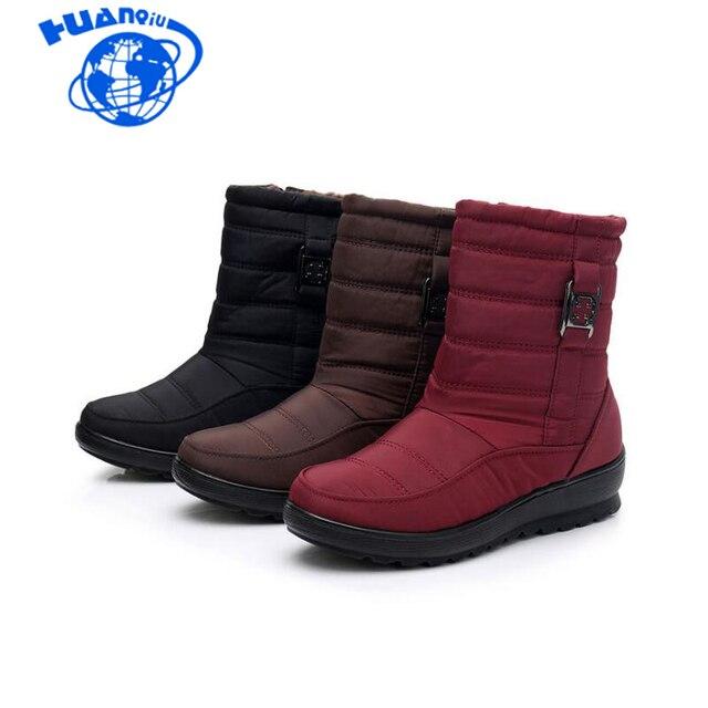HUANQIU รองเท้าบูท 2018 ยี่ห้อผู้หญิงฤดูหนาวรองเท้าบูทรองเท้ากันน้ำผู้หญิงแฟชั่นพลัสขนาด Wyq176