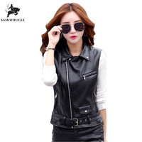 Zipper Leather Vest Women PU Soft Vest Ladies Leather Motorcycle Pocket vest waistcoat Rivet colete WaistCoat Biker Wests