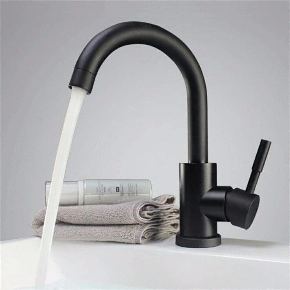 Livraison gratuite couleur noir et blanc poli en acier inoxydable salle de bain bassin mélangeur double évier bassin robinet mélangeur finition noire