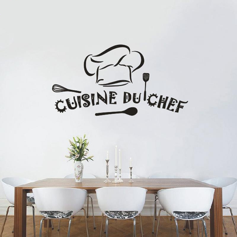 Buy cuisine du chef french vinyl wall for Sticker mural cuisine