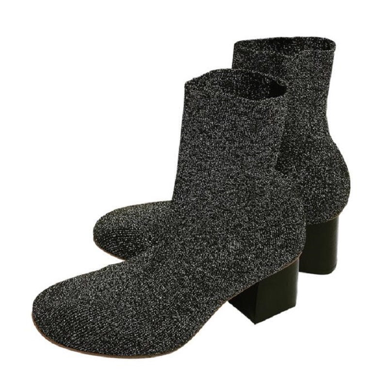 ФОТО Black Sexy Women Thick Heel Stretch Knit Boots High Heel Fashion Stovepipe Shoes Boots For Women Autumn Slip-on Wool Half Boots