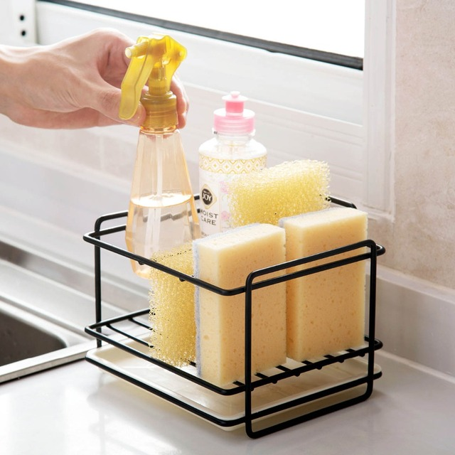 Soporte de esponja OTHERHOUSE para drenaje de jabón, estante de almacenamiento, organizador de fregadero de cocina, soporte de cepillo de trapo, estante de hierro, organizador de baño 2
