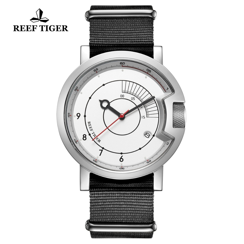 2019 Reef Tiger RT New Design Simple Watch Men Nylon Strap Waterproof Military Watches Luxury Brand