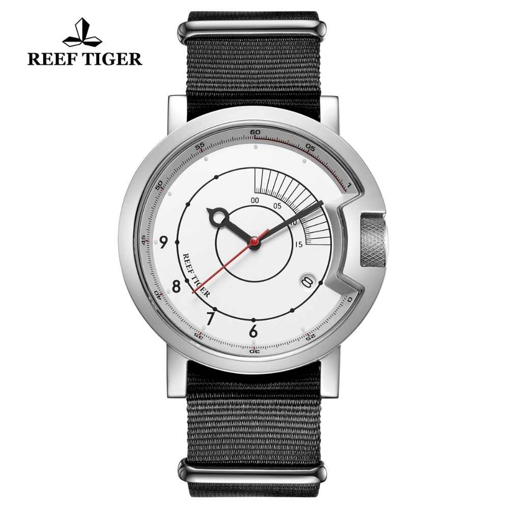 2019 Reef Tiger/RT New Design Simple Watch Men Nylon Strap Waterproof Military Watches Luxury Brand Automatic Watches RGA9035