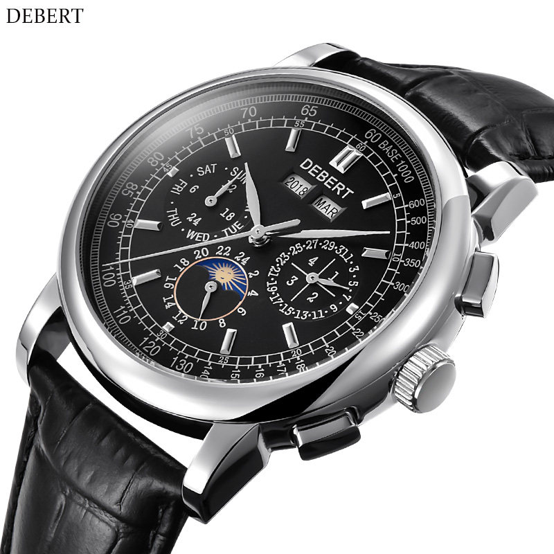 DEBERT watch men's sports waterproof automatic mechanical men's watch leather strap sapphire glass mirror Seagull Movement цена и фото