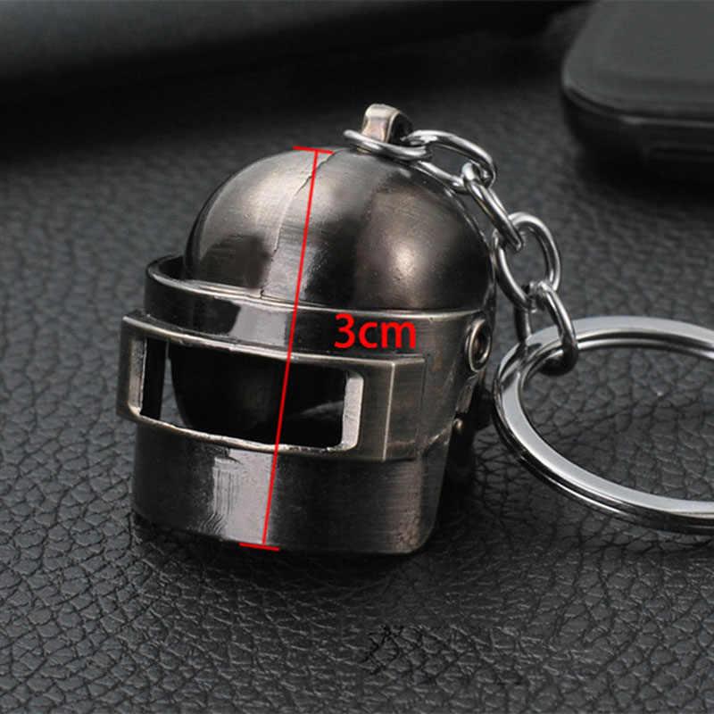 AudWhale PUBG ทองแดงพวงกุญแจหมวกนิรภัยและปืน 98K แฟนคีย์โซ่แหวน Glitter Llaveros สำหรับ PUBG แฟน Chaveiro