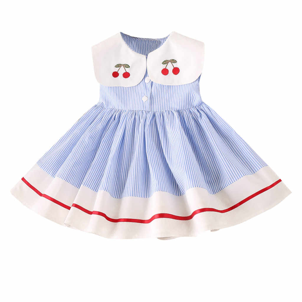 Toddler Summer Dress Clothes Sleeveless Cherry Stripe Party Princess Dresses Solid Button Denim Dress Baby Dropshipping M1219