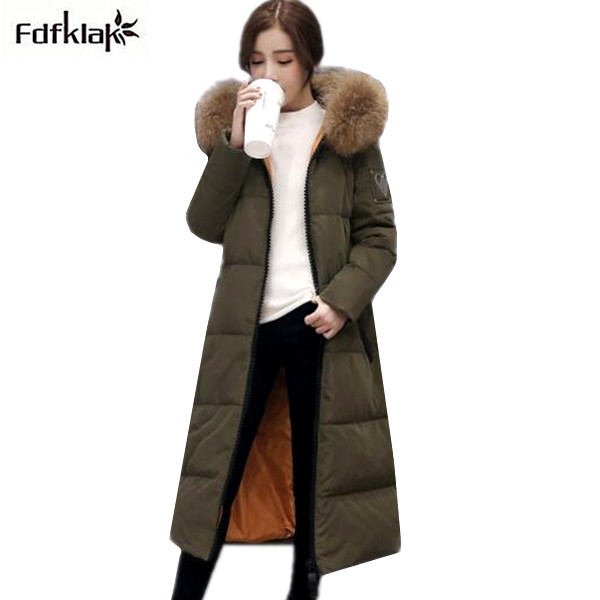 New 2017 fashion brand winter jacket women long thick winter coat fur hooded white duck down jackets women's parkas A309