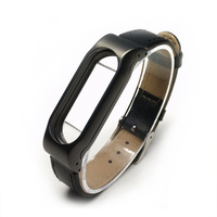 Fashion Xiaomi Mi Band 2 Strap Leather Wrist With Metal Frame Adjustable For Original Miband 2