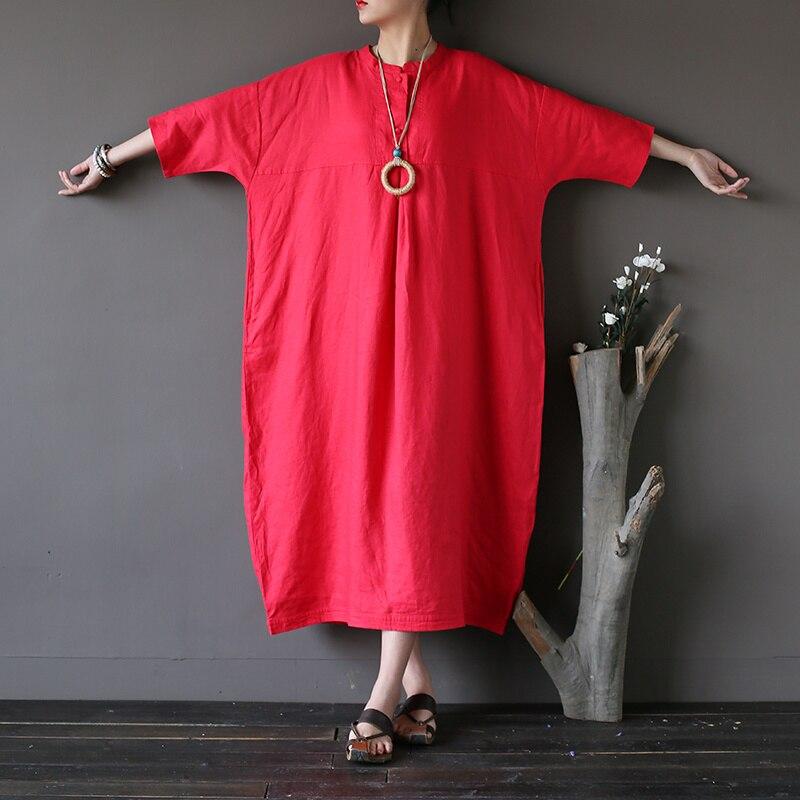 Grande taille solide rouge noir violet lin femmes longue Robe lâche décontracté Vintage Robe mi-longue en lin grande taille Robe Femme A187