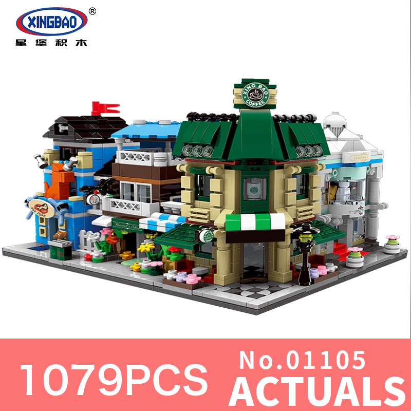 XingBao 01105 1079Pcs Genuine Classic The Coffee Shop Wedding Store Flower Shop Pet Shop Set 4 in 1 Building Blocks Bricks Toys human in the store there are surprises low price store products lp st cheap suitcase