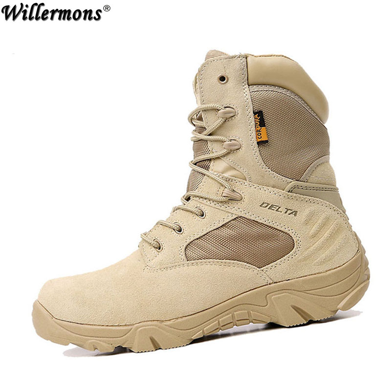 Зимние Для Мужчин's пустынный камуфляж Военная Униформа Армейские ботинки Для мужчин открытый боевой армейские ботинки Botas militares Мужская обувь