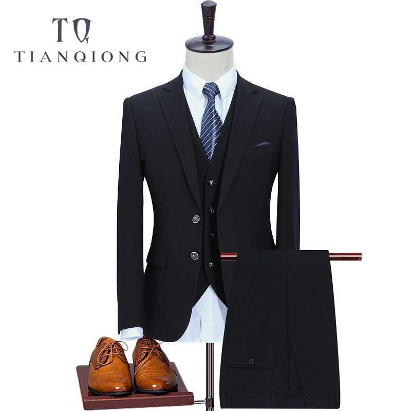 TIAN QIONG 3 Pec (Jackets+Pants+Vest) Brand Men Black Dress Suits Blazer Set 2 Buttons Classic High Quality Handmade Suits Set