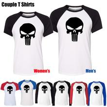 Simple Style Black Punisher Skull Marvel Design Printed T Shirt Men s Boy s Graphic Tee
