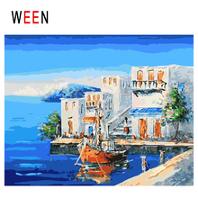 WEEN Seaside Town Diy Painting By Numbers Abstract Boat Oil On Canvas House Cuadros Decoracion Acrylic Home Decor