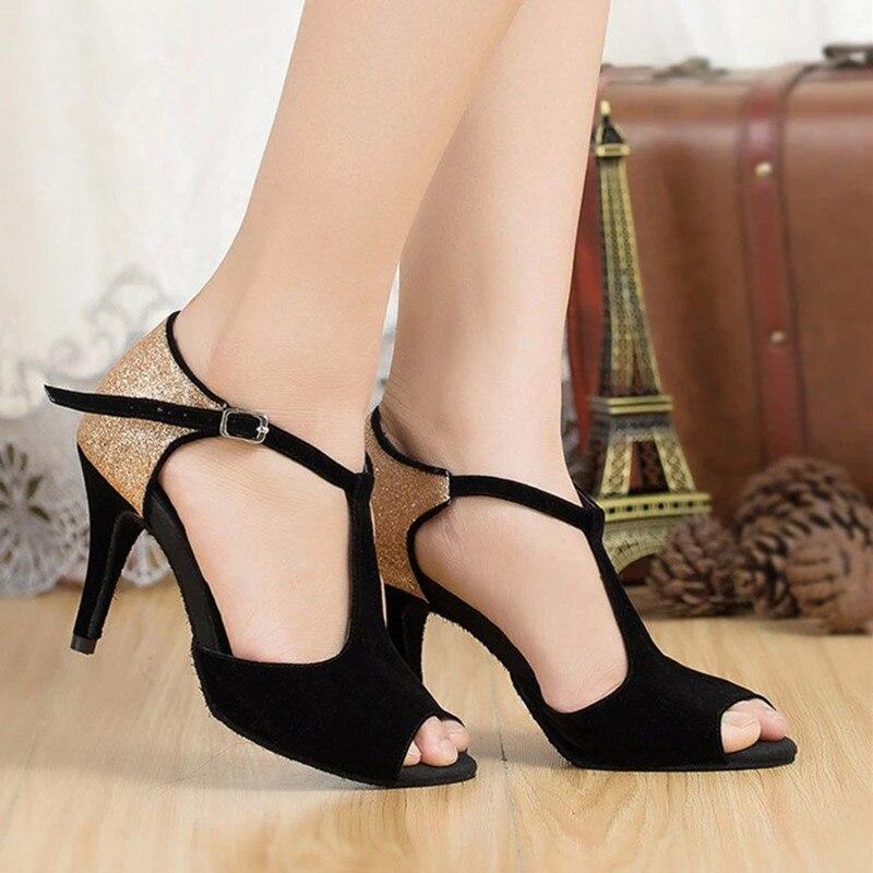 Negras Para Mujeres Latinos Zapatos Baile Mnnov0y8w De Sandalias Damas CoredxB